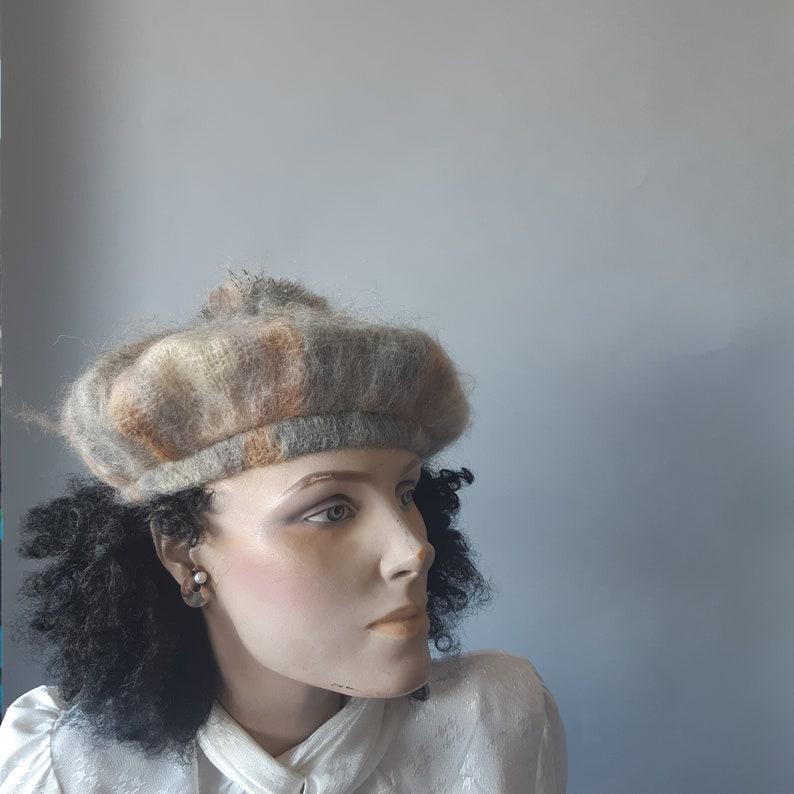 mohair wool beret pom pom  knit hat