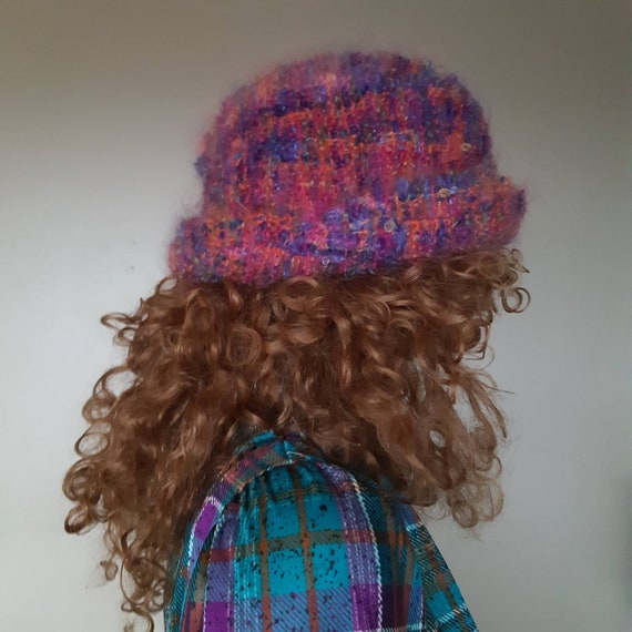 Mohair hat knit bucket hat 70s warm winter hat