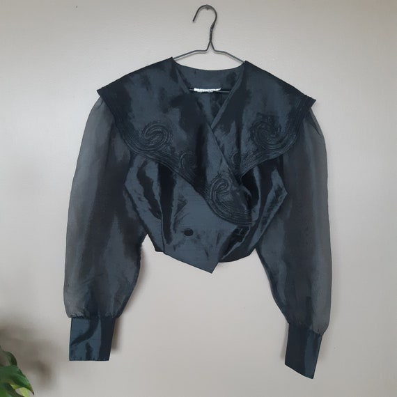 Black Wide Collared Shirt Blouse Jacket 80s Puff S
