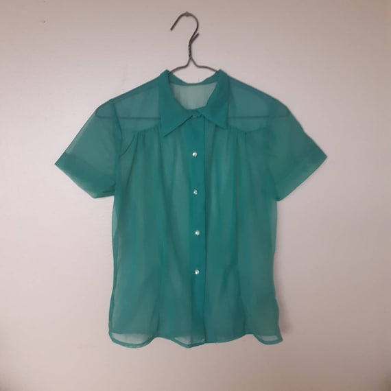 40s green sheer blouse size s