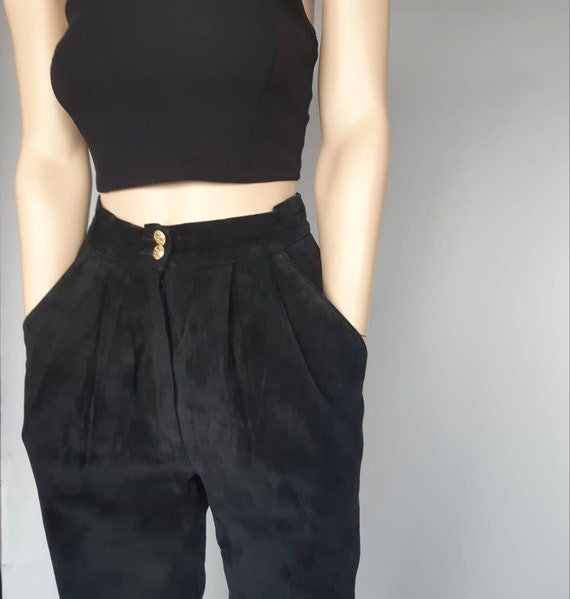 Pleated baggy pants suede high rise black trousers