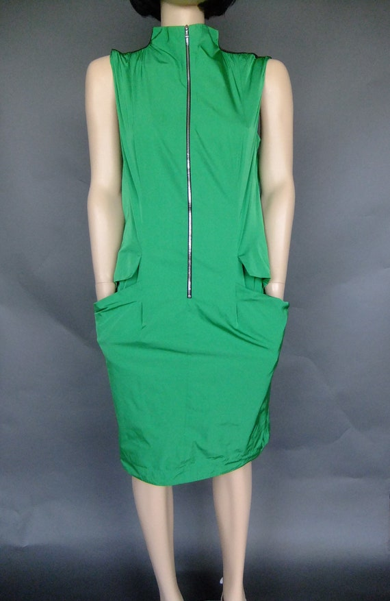 green dress Lida Baday vintage 90s designer zipper