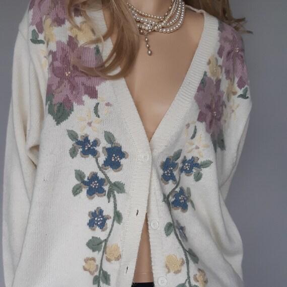 Cream Sweater Cardigan Oversized M Floral
