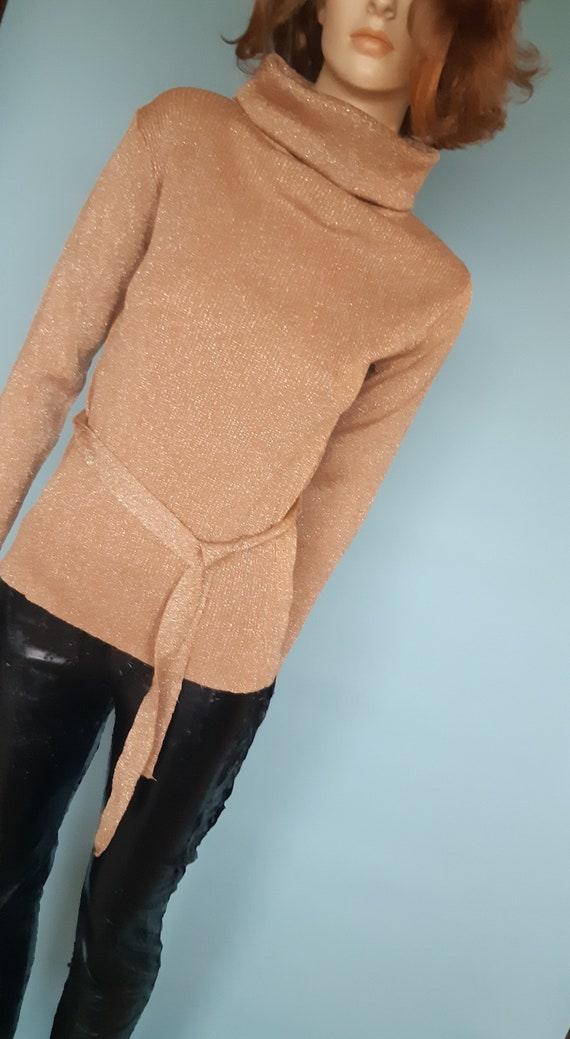 70s cowl neck tunic sweater belted