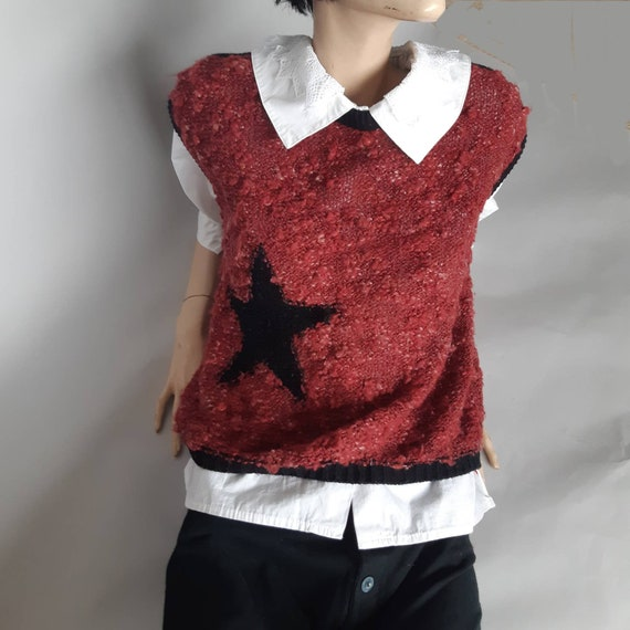 Sweater Vest Burgundy 70s Star  Knit Sweater Overs
