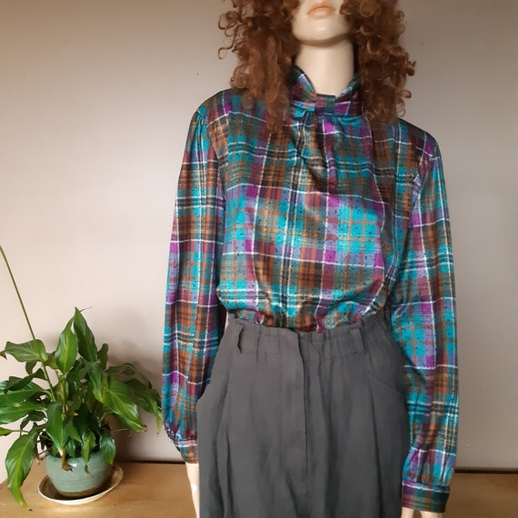 plaid blouse high neck full sleeve size medium