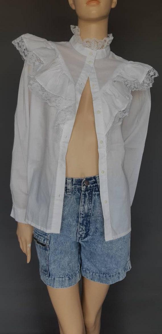 white prairie ruffle blouse