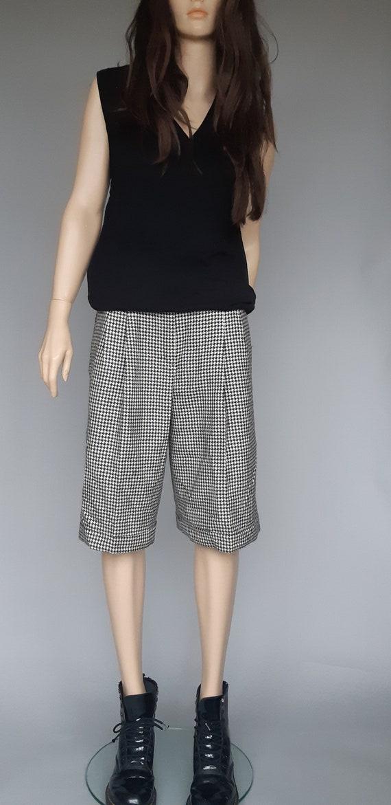 Houndstooth Walking Short Bermuda Shorts Wool Smal