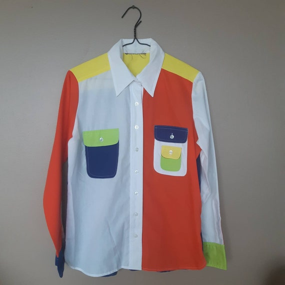 80s color block shirt neon collared blouse