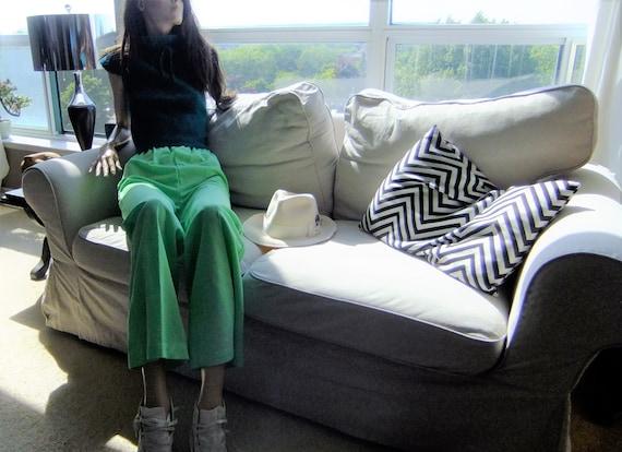70s Pants Green Flared Leg Elastic Waist High Wais