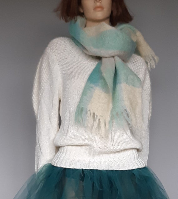 Mohair Scarf / Wool Scarf / Green Scottish Scarf