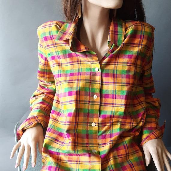 Women's Silk Blouse Oversized Plaid Shirt