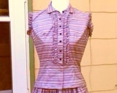 Vintage 1950s Pink Black Striped Skirt Blouse Set Rockabilly XS Extra Small Small NOS New Old Stock