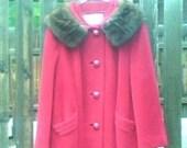 Vintage 1950s 1960s Red Coat Cranberry Mink Collar Swing Coat Car Coat Medium Large