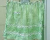 Vintage Half Apron Green Gingham Handmade Rockabilly Housewife 1950s 1960s