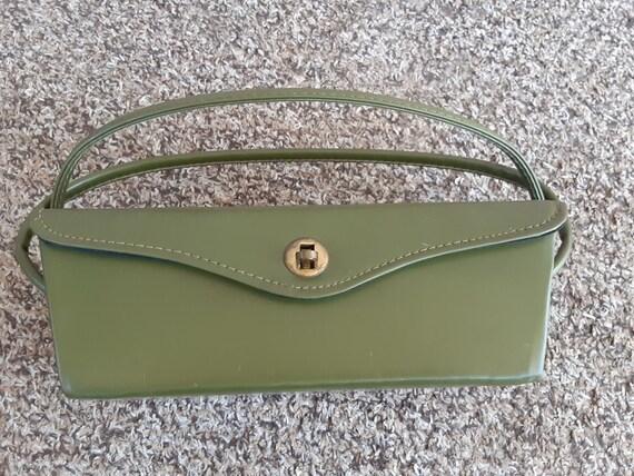 Vintage 1950s 1960s Avocado Green Vinyl Box Purse