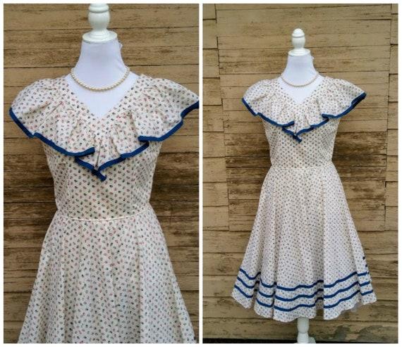 Vintage 1940s 1950s Sleeveless Dress Sundress Crea