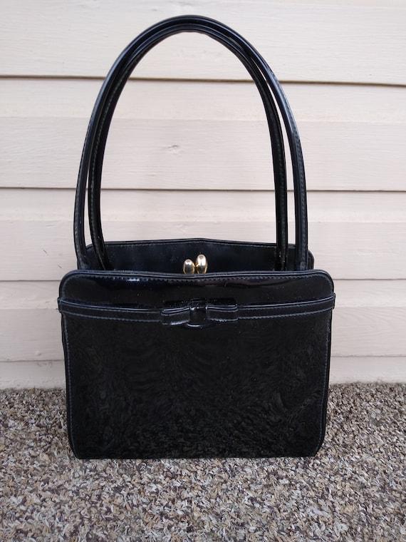 Vintage 1960s Black Bow Patent Leather Mini Bag Mo