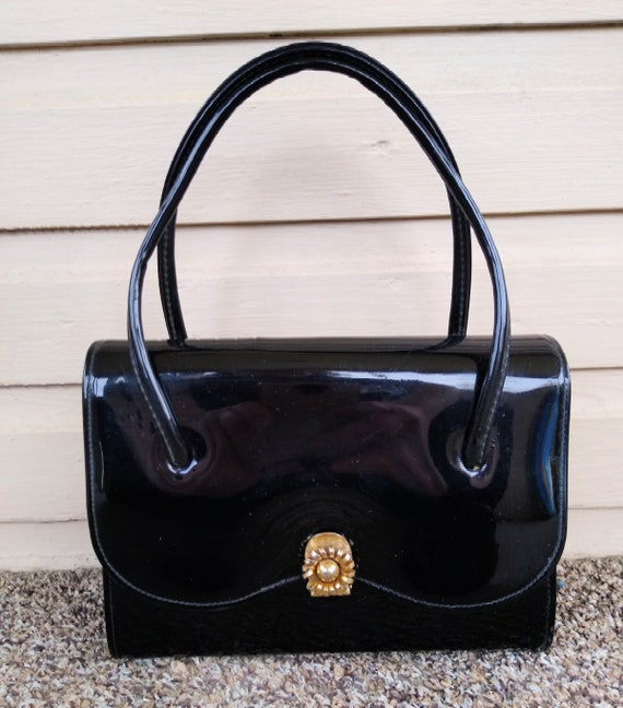 Vintage 1960s Black Patent Leather Mini Bag Purse