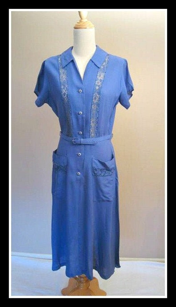 Vintage 1940s 40s Dress Blue Lace Swing  Princess
