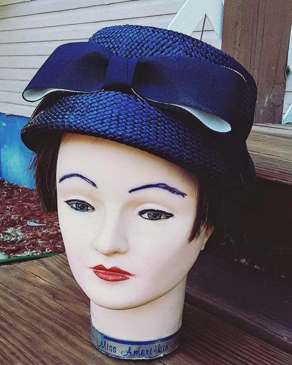 Vintage 1950s 1960s Blue Bucket Hat Bow MCM Formal