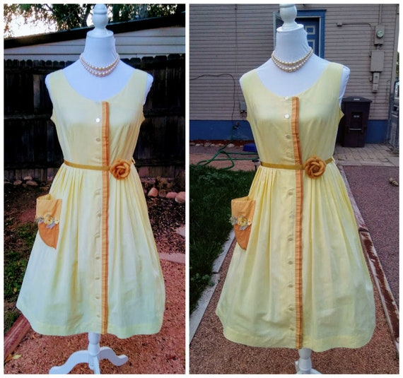 Floral Vintage Sleevless Rockabilly 50/'s With Pockets Flowers Wedding Party