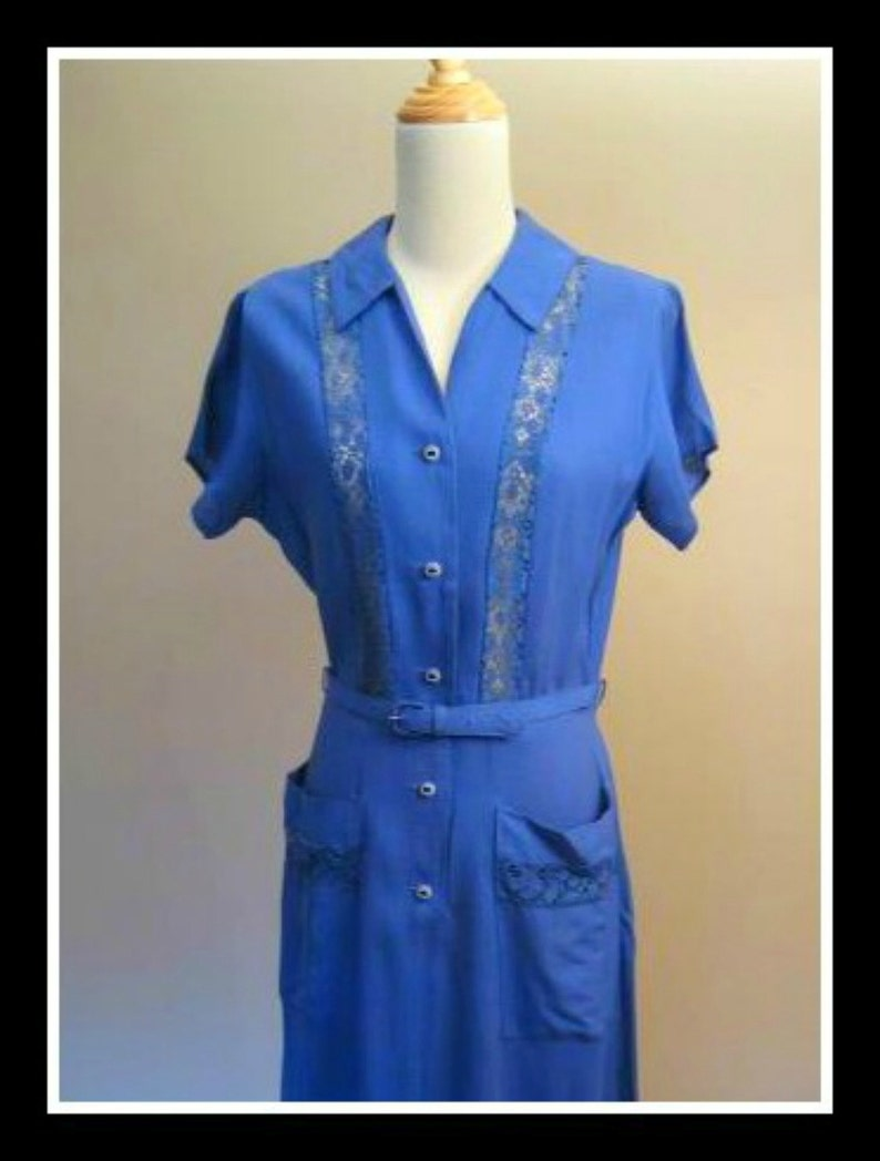 Vintage 1940s 40s Dress Blue Lace Swing  Princess Peggy New Old Stock Rockabilly SMALL Unworn VLV