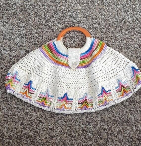 Vintage 1930s 30s  SMALL Ivory Rainbow Fan Crochet