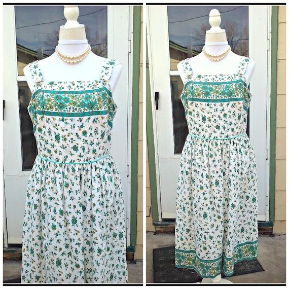 Vintage 1940s 1950s Blue Green Sleeveless Dress Su