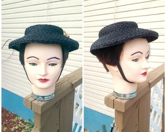 Vintage 1940s 40s Black Bonnet Hat Ladies Flowers Strap