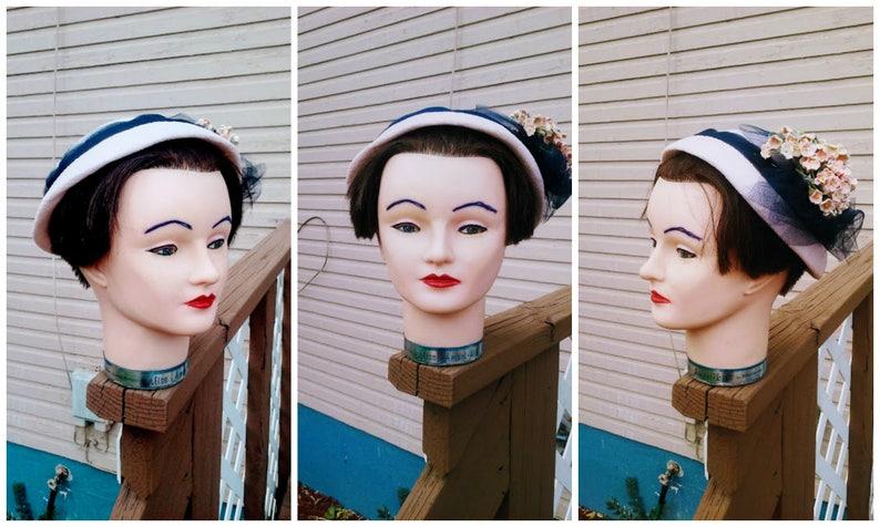 Vintage 1930s 1940s Tilt Hat Pink Navy Ladies Flowers Tulle