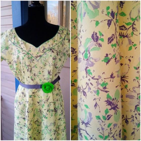 Vintage 1930s 30s Yellow Floral Cotton Print Dress