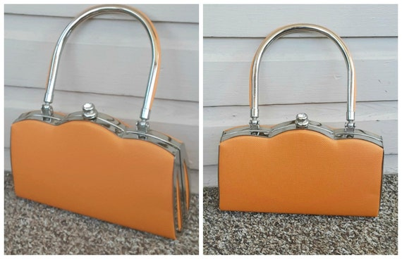 Vintage 1960s 60s Orange Vinyl Mod Chrome Mini Pur