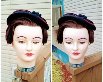Vintage 1940s 1950s Tilt Hat Black Red Pancake Ladies Ribbon Rose