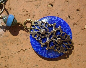 Vintage Blue Glass Necklace