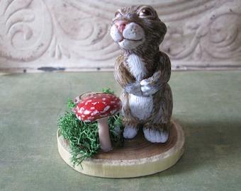 Sweet Springtime Rabbit Sculpture Globe