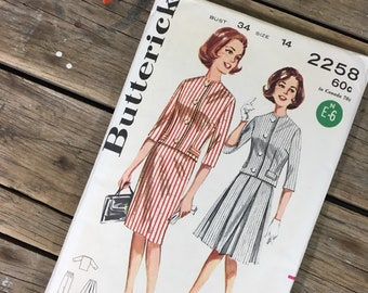1950s Women/'s Box Suit Sewing Pattern Butterick 7119 Vintage Skirt Suit Sewing Pattern Complete