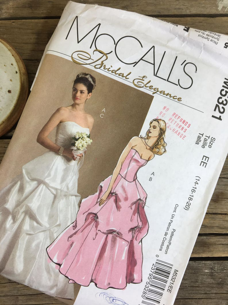 Wedding Dress Pattern Bunched Style Skirt Mccalls 5321 Etsy