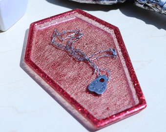 Coffin Red Glitter Transparent Resin Trinket Tray Jewelry Dish