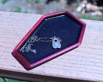 Coffin Pink & Black Glitter Resin Trinket Tray Jewelry Dish