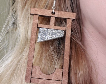 Guillotine Laser Cut Wood and Glitter Acrylic Earrings