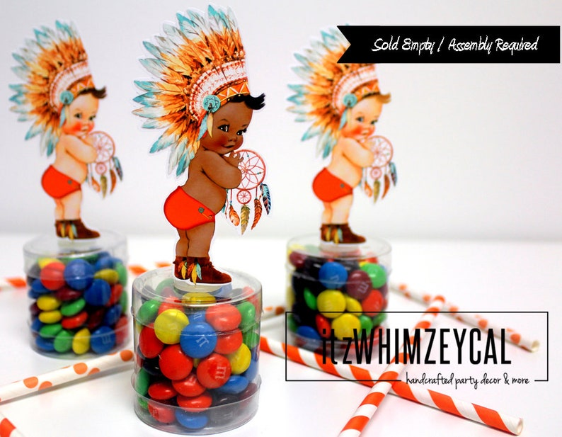Baby Showe Decorations Boho Tribal Party Favors Vintage Baby Boy Party Decorations Native American Boho Party Decor| Candy Container