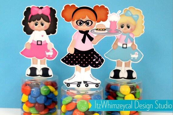 Sock Hop Party Favors Sock Hop Party 50s Party Favors 50s Party Poodle Skirt 1950s Party Candy Container Party Decorations