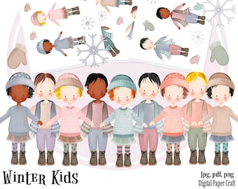 Watercolor Clipart, Children,  Kids Clipart, Birthday Clipart, Winter Clipart, Girl Clipart, Watercolor Clipart, Boy Clipart, Journal Junk