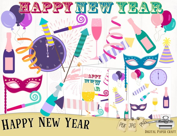 new year clipart new years new years eve clipart instant etsy etsy