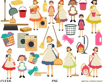 Cleaning Clipart, Chores Clipart, Housework Clipart, Instant Download, cleaning,  House Rules, Planner Clipart, Cleaning, House work