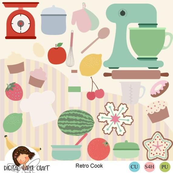 Retro Küche kocht, Cliparts, 50er Jahre Küche, Kochen Clip Art, Instant  download, Rezept Clipart, Koch Clipart, 50er Jahre Clipart