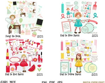 Girl Mix clipart, 4 packets, fairy, hair grooming, make up, combs, brush , pdf, png, jpg