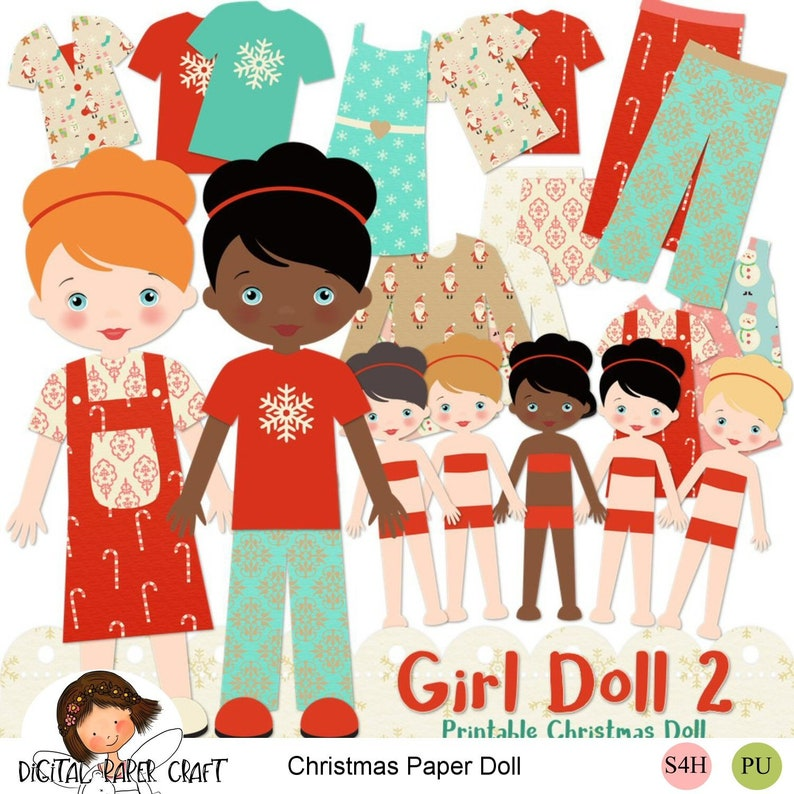 Instant Download Cut out doll Digital Paper doll Printable doll Christmas Paper Doll pdf,png,jpg Girl doll 2 Cut Out Printable