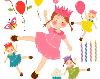 Girl Clipart, Party Clipart, Birthday Clipart, Instant Download, Clipart